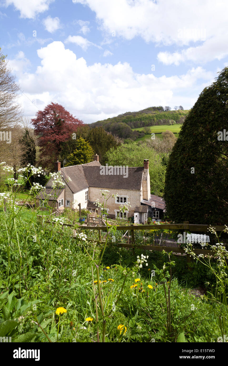 'Rosebank' in the Cotswold village of Slad, Gloucestershire UK - The childhood home of Laurie Lee, author of 'Cider with Rosie'. - Stock Image