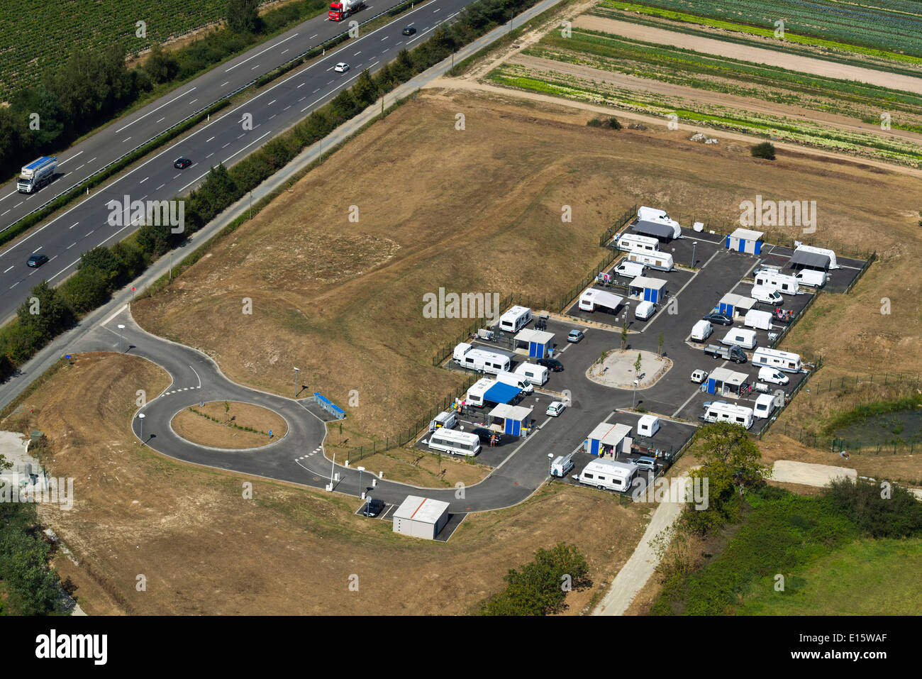 Permanent gypsy / traveller site - Stock Image