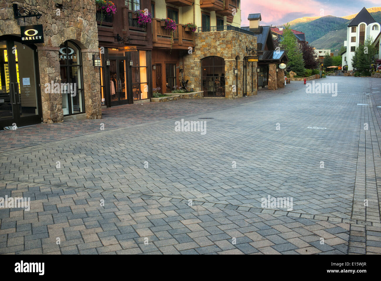 Stone roadway in Vail Village. Vail, Colorado - Stock Image