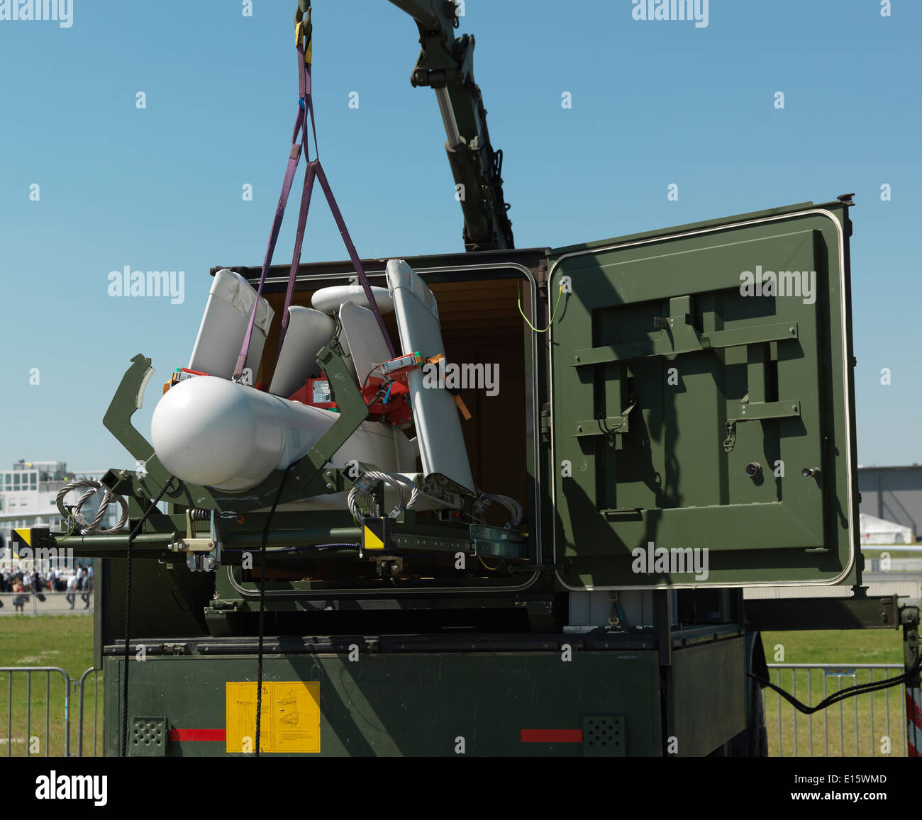 UAV KZO a German Reconnaissance and Target Acquisition drone shown by the German Army (Deutsches Heer), folded for transport. - Stock Image