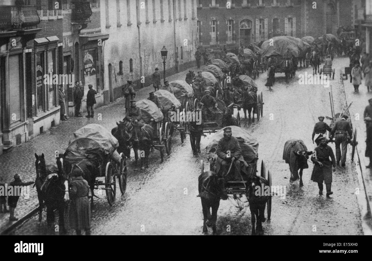 The German army retreating through Belgium at the end of the First World War WW1 November 1918 - Stock Image