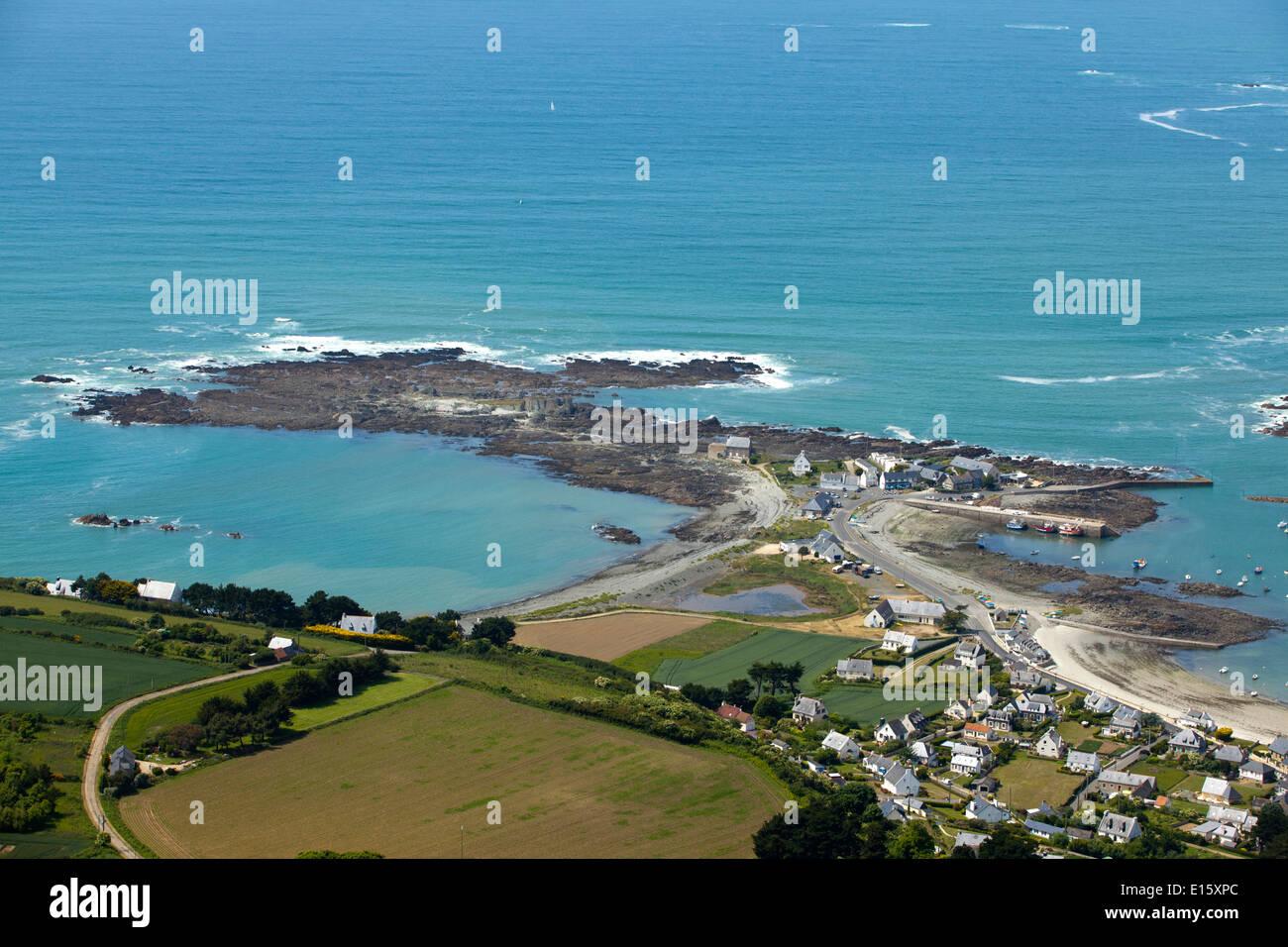 Trédrez-Locquémeau (Côtes d'Armor department): aerial view Stock Photo