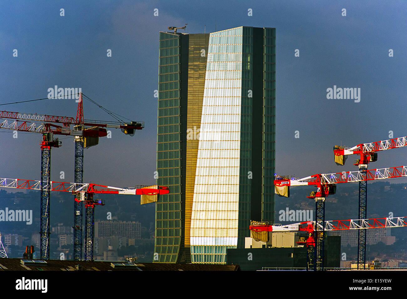 Europe, France, Bouches-du-Rhone (13), Marseille, European Capital of Culture 2013, CMA CGM Tower, architect Zaha - Stock Image