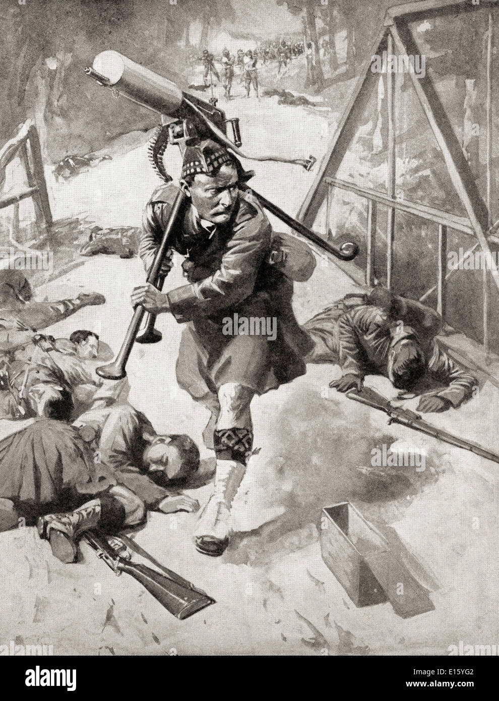 A brave soldier from the Highlander regiment steals a Maxim gun from the Germany enemy during WWI. - Stock Image