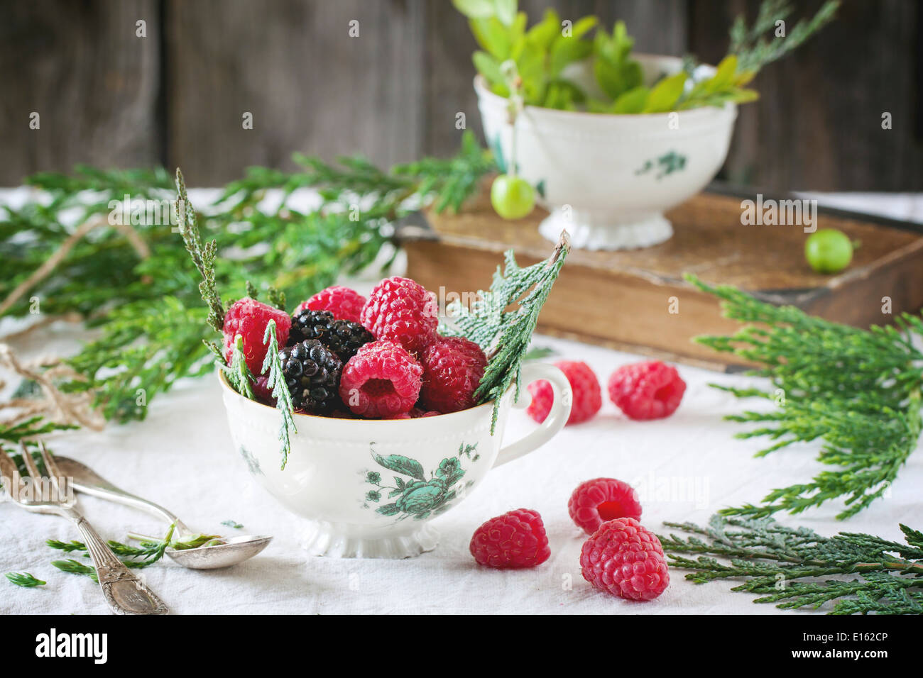 Vintage cup of raspberries and blackberries served with thuja branches and old book on the table. - Stock Image