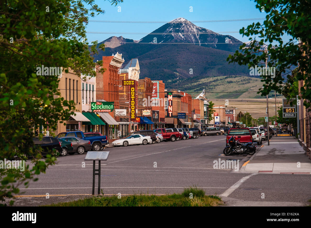 City of Livingston, Montana - historic centre, even in summer there is snow at the hill behind the city - Stock Image