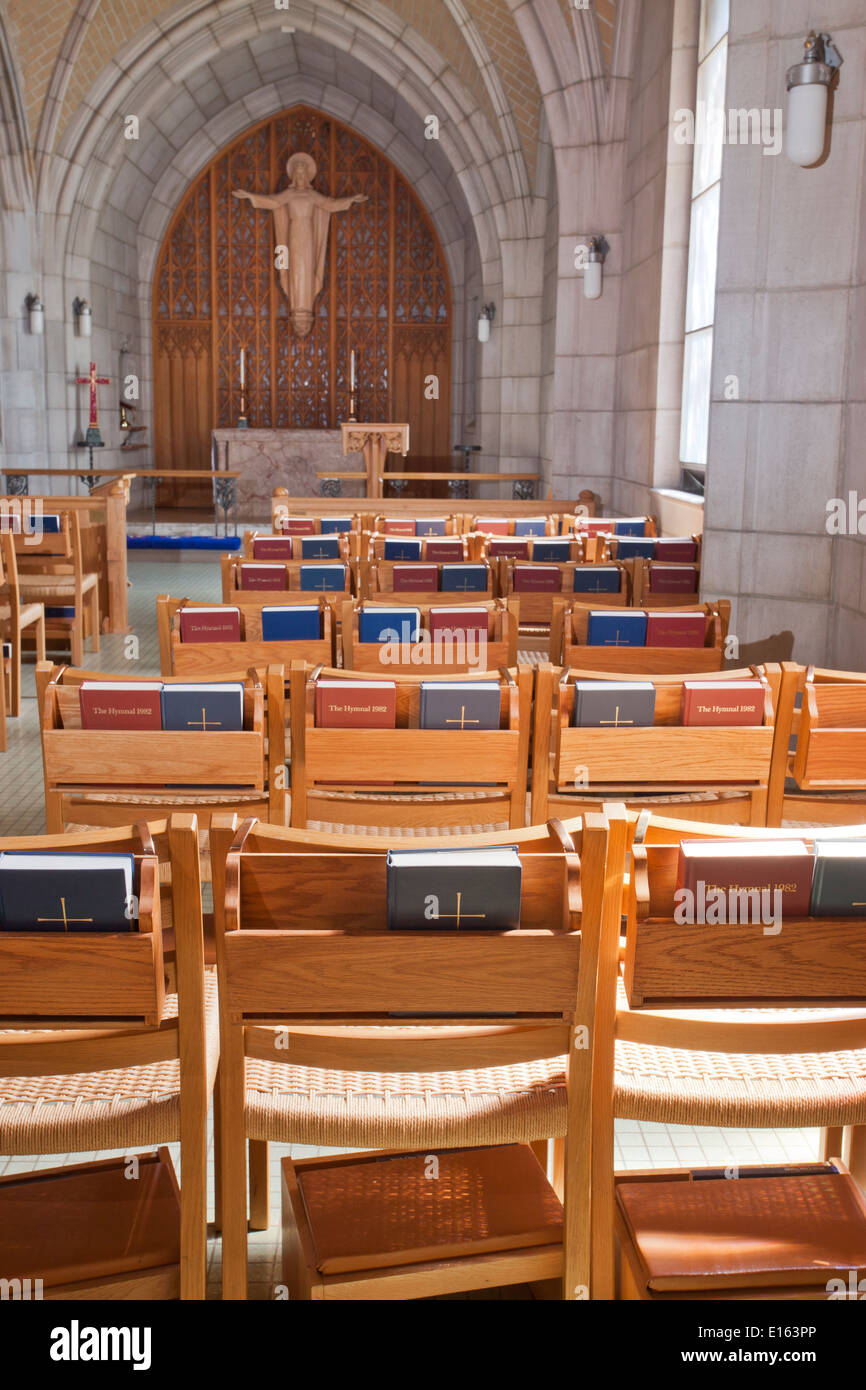 Chairs And Bibles Inside A Part Of St Johns Church In Spokane, Washington.