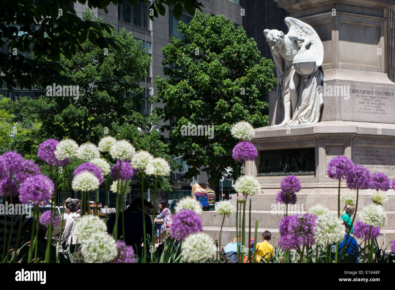 Upper West Side, New York city, statue at Columbus Circle Stock Photo