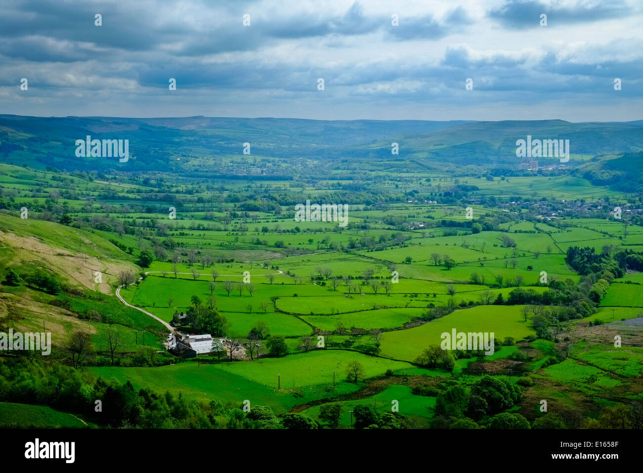 View of the Hope Valley, Peak District National Park, Derbyshire, England, May - Stock Image