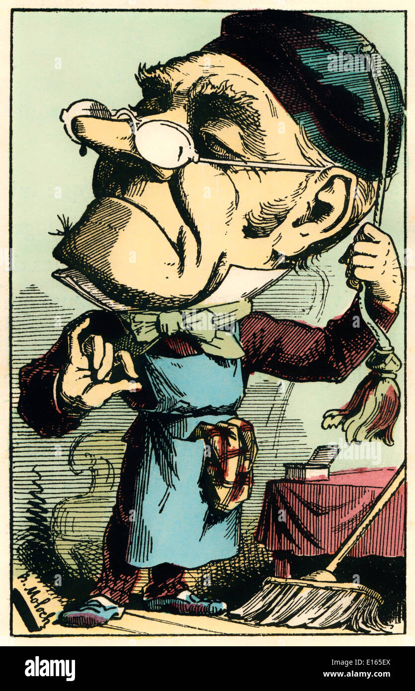 A French concierge, personified as Augustin-Gabriel Delaporte, caricature, 1882, by Alphonse Hector Colomb pseudonym Stock Photo