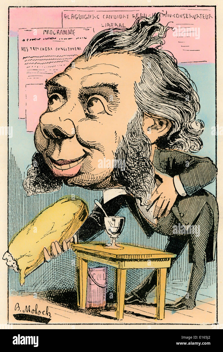 The candidate, personified as Louis-Theodore Blagignac, political caricature, 1882, by Alphonse Hector Colomb pseudonym Stock Photo