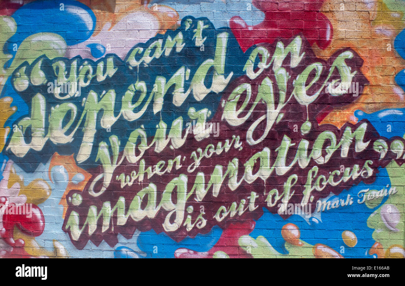Wall painting with Mark Twain quote 'You can't depend on your eyes when your imagination is out of focus' Newcastle NW Australia - Stock Image