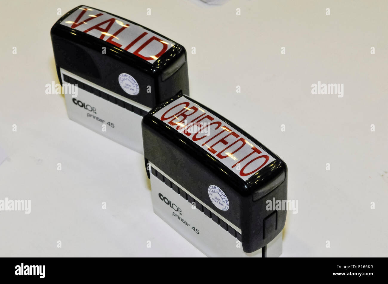 Newtownabbey, Northern Ireland. 23 May 2014 - Rubber stamps to mark 'Valid' and 'Objected to' voting slips at the Local Council Elections in Northern Ireland Credit:  Stephen Barnes/Alamy Live News - Stock Image