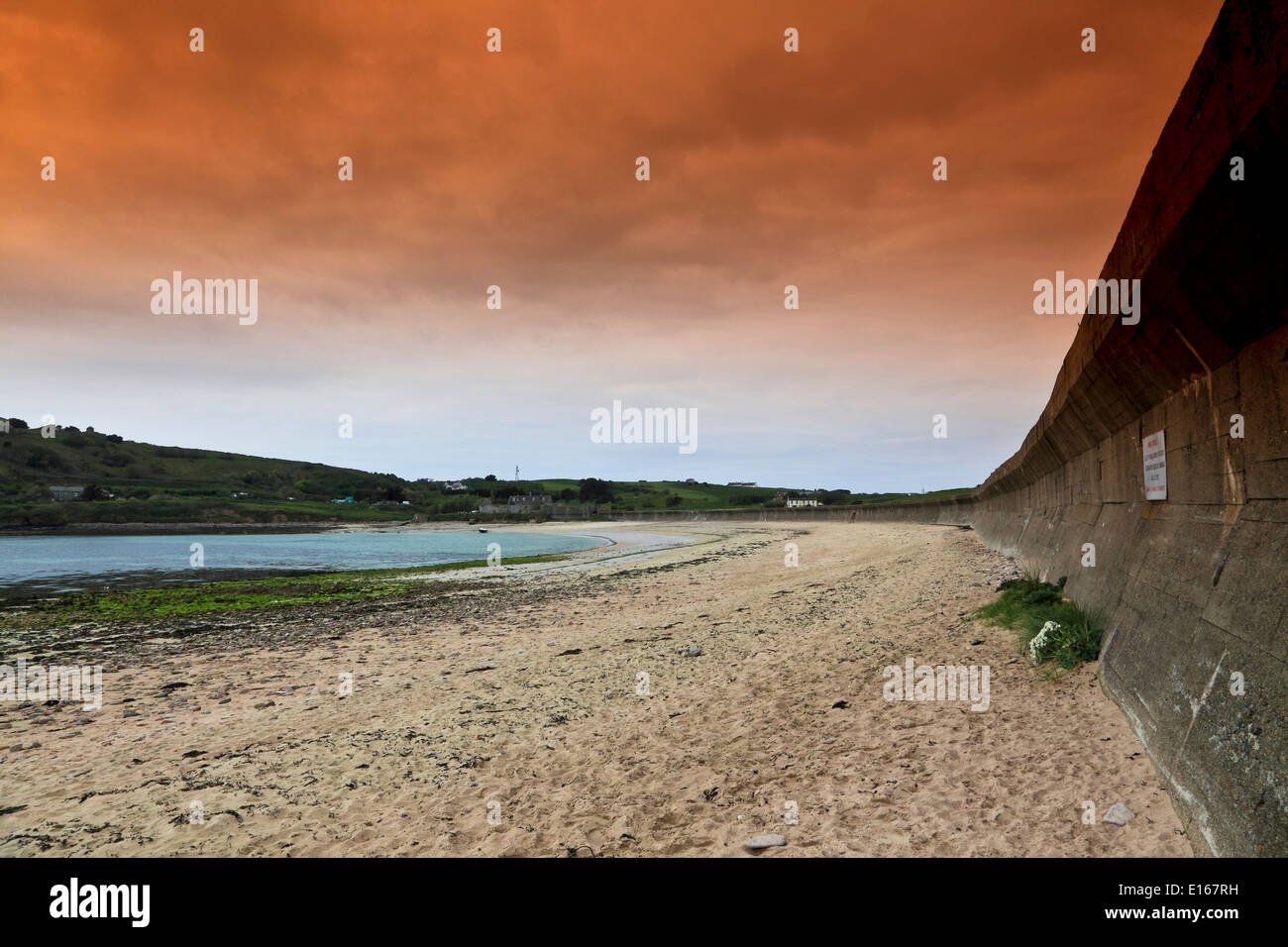 9119. German anit-tank defenses WW2, Longis Bay, Alderney, Channel Islands, UK, Europe - Stock Image
