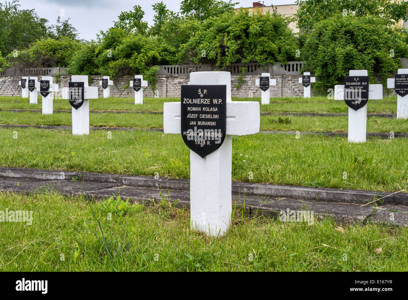 Cemetery of 4000 Polish soldiers killed in WW2 Battle of Bzura aka Battle of Kutno in September 1939, Sochaczew, Mazovia, Poland - Stock Image