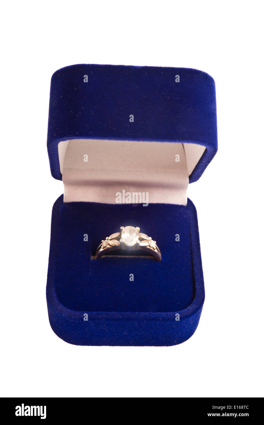 engagement ring in a blue box - Stock Image