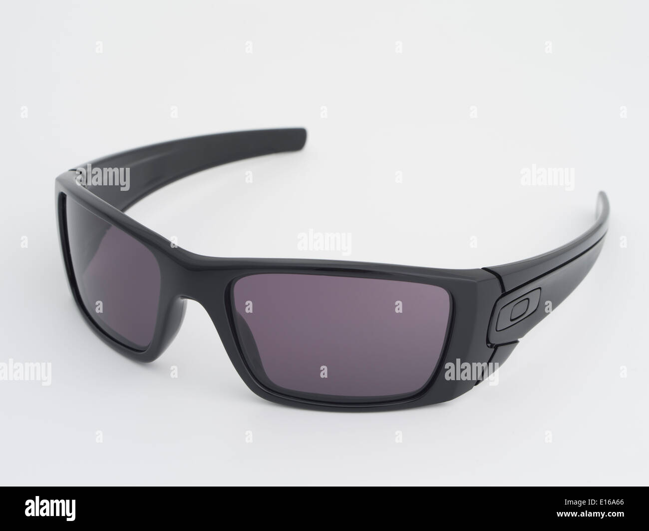 Oakley Fuel Cell Polished Black Sunglasses with warm grey lenses. Oakley inc based in Foothill Ranch, California - Stock Image