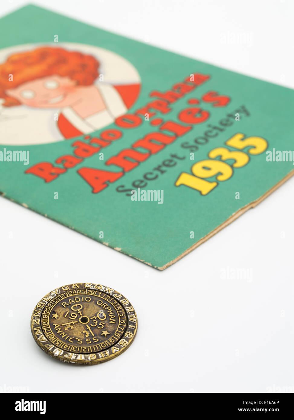 Radio Orphan Annie's Secret Society Radio Show book and decoder Stock Photo