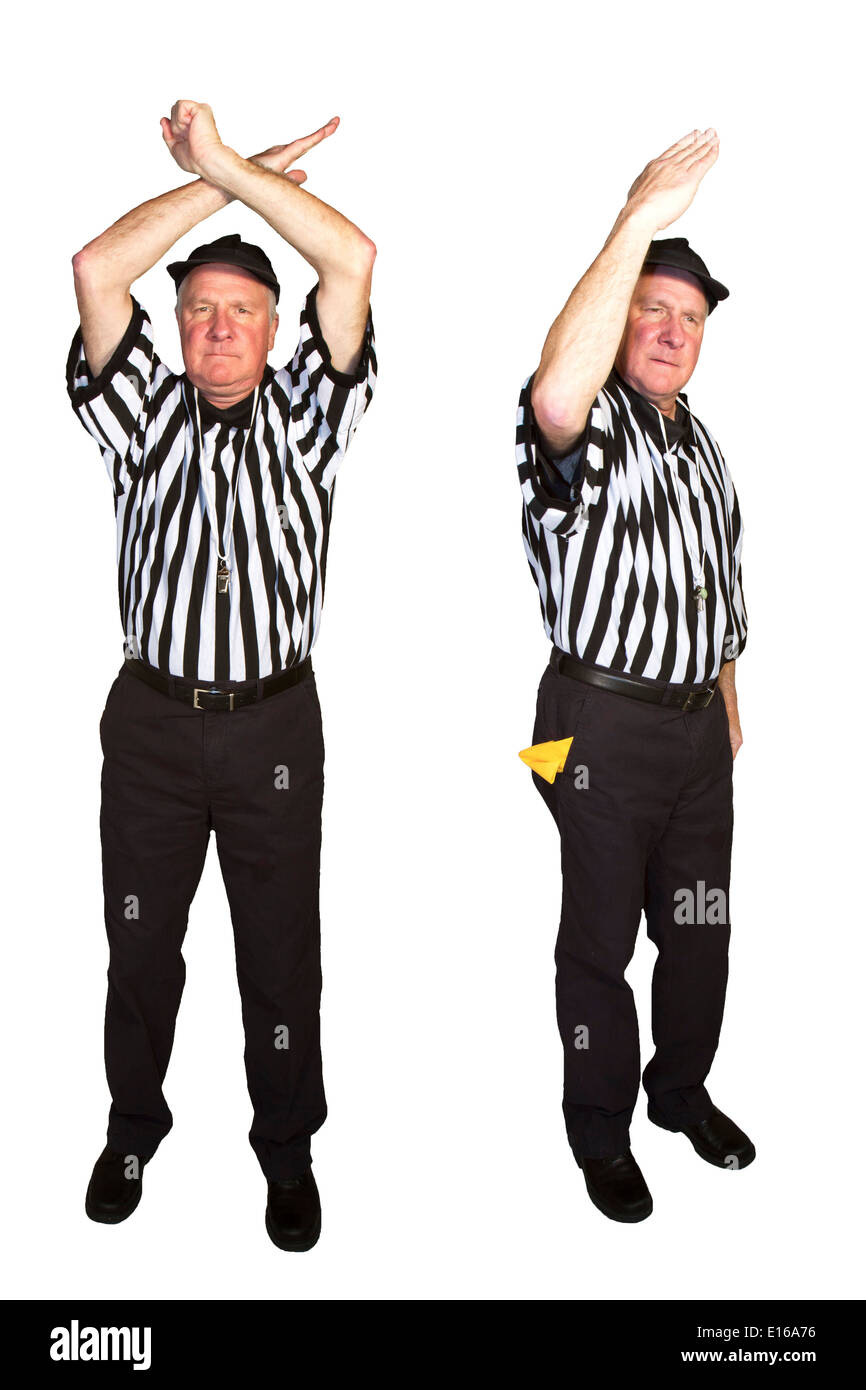 Man dressed as an NFL referee signaling personal foul. roughing the passer or quarterback - Stock Image