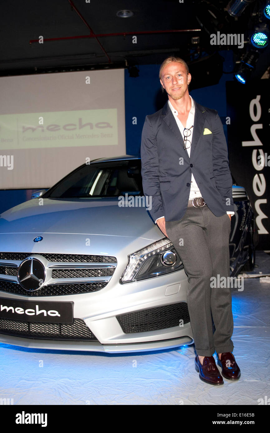 Ex Real Madrid football-player Jose Maria Gutierrez Hernandez/Guti promotes the new Mercedes-Benz Mecha at Moma - Stock Image