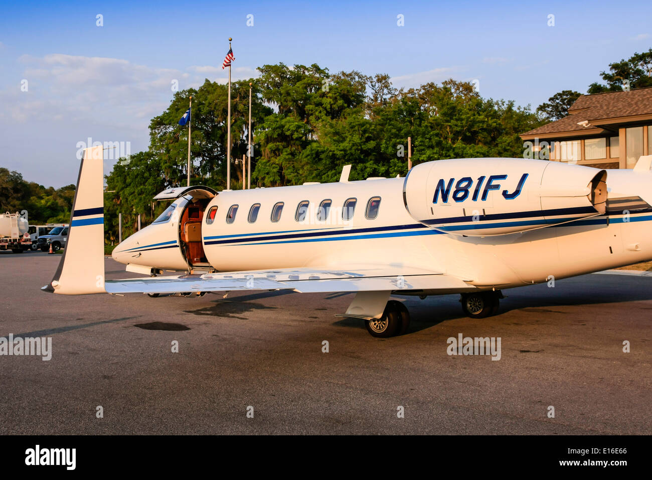 Private Luxury Jet aircraft at Hilton Head Airport SC - Stock Image