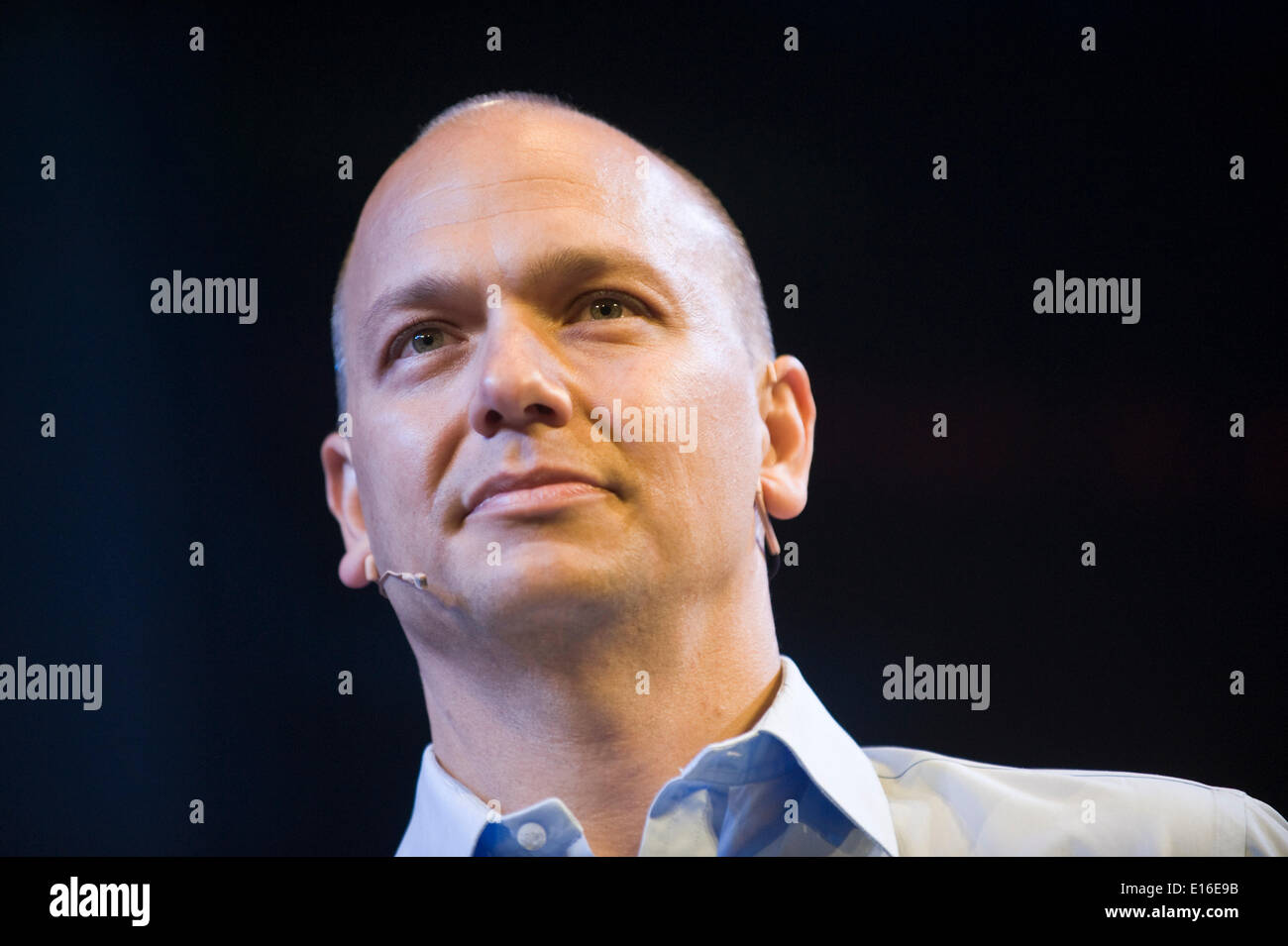 Tony Fadell, creator of the iPod, speaking on stage at Hay Festival 2014   ©Jeff Morgan - Stock Image