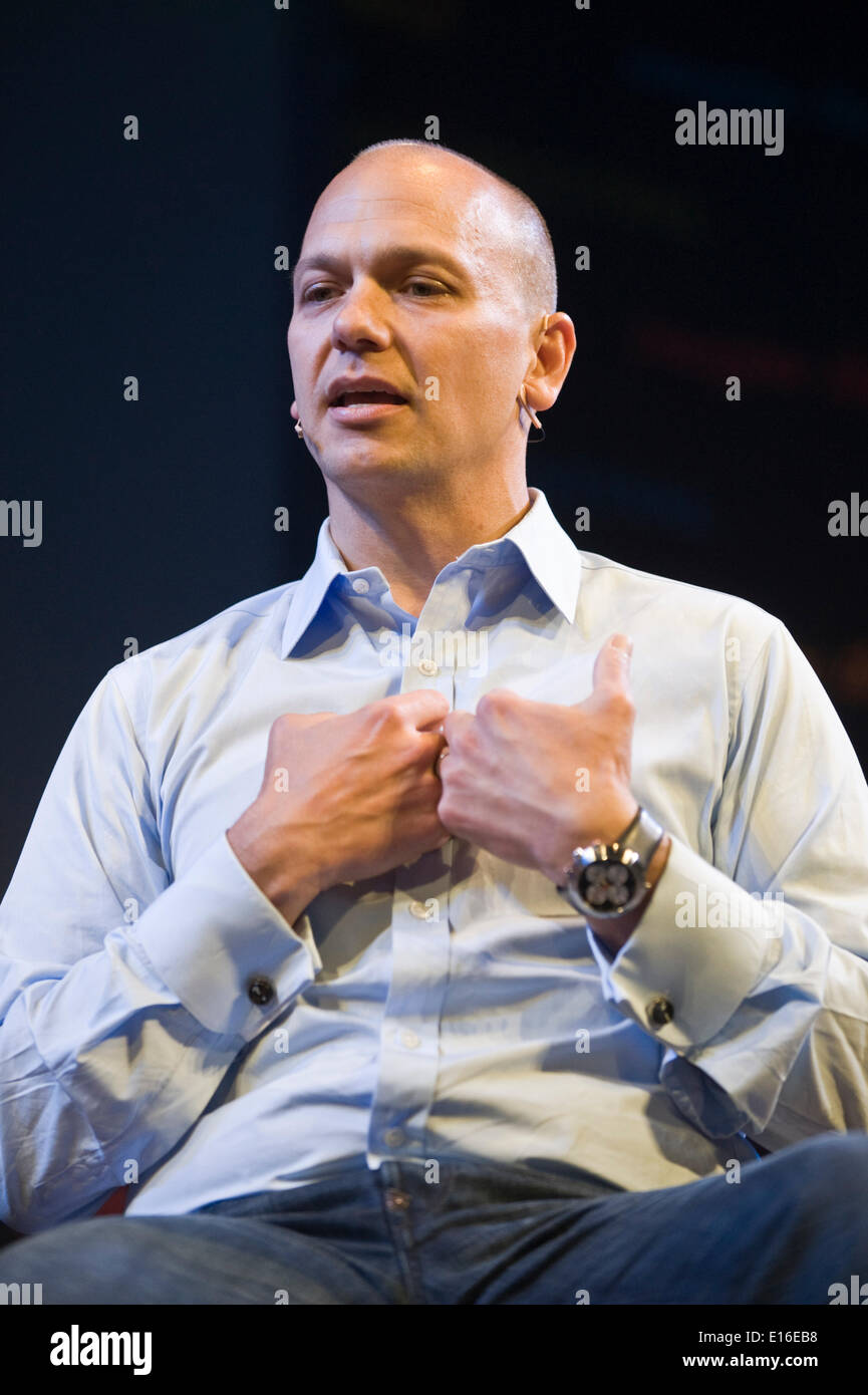 Tony Fadell, creator of the iPod, speaking on stage at Hay Festival 2014   ©Jeff Morgan Stock Photo