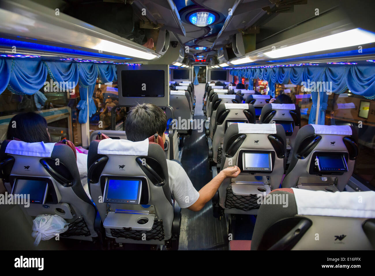 Double deck VIP bus from Bangkok to Chiang Mai, Thailand - Stock Image