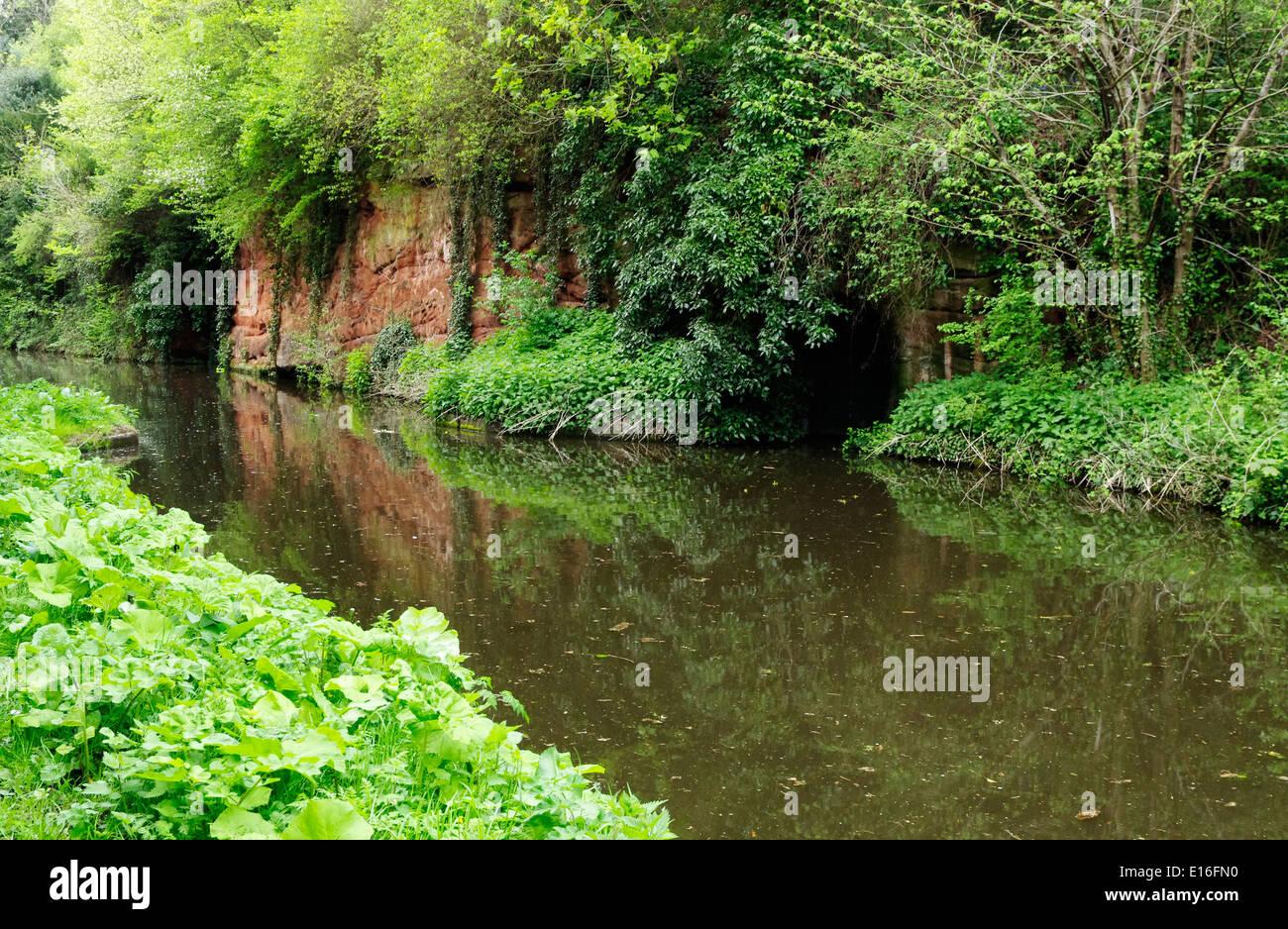Devil's Den Sandstone Escarpment on the Staffordshire & Worcestershire Canal, Prestwood, Staffordshire, England, Stock Photo