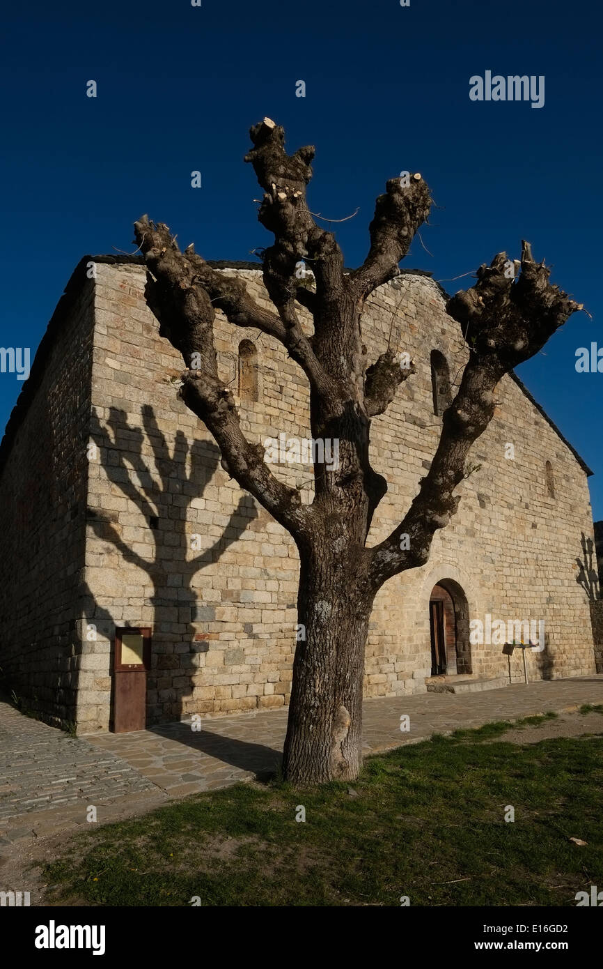The Catalan Romanesque Church of St. Clement of Tahull in Vall de Boi valley Province of Lleida in Catalonia Spain - Stock Image