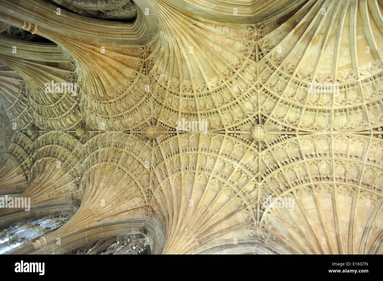 Ornate fan vaulting forms the roof of Peterborough Cathedral. Peterborough, Cambridgeshire. UK. - Stock Image