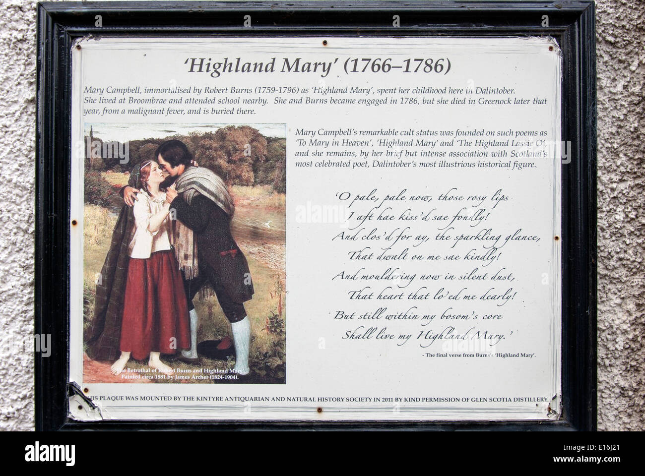 Commemoration Plaque to Highland Mary Campbell and Robert Burns - Stock Image