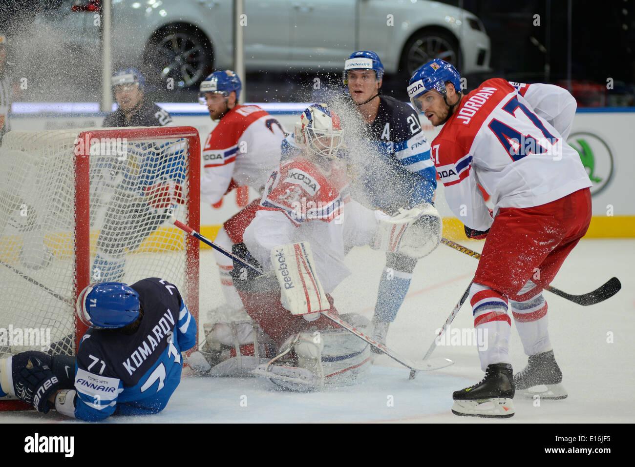 SALAK Alexander and JORDAN Michal of Czech during 2014 IIHF World Ice Hockey Championship semifinal match at Minsk Arena - Stock Image