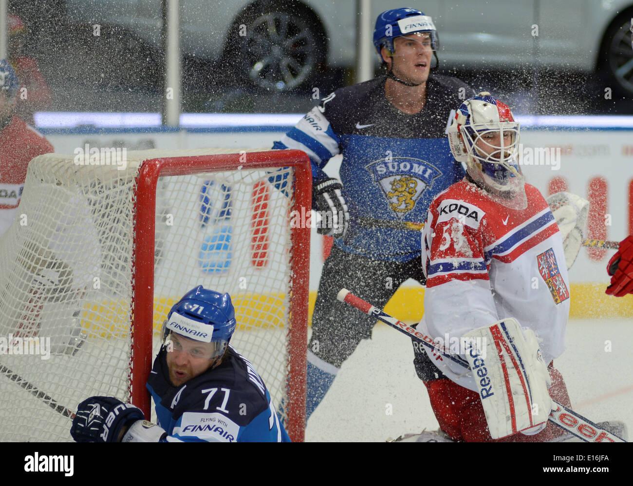 KOMAROV Leo (71) of Finland and SALAK Alexander during 2014 IIHF World Ice Hockey Championship semifinal match at Minsk Arena - Stock Image