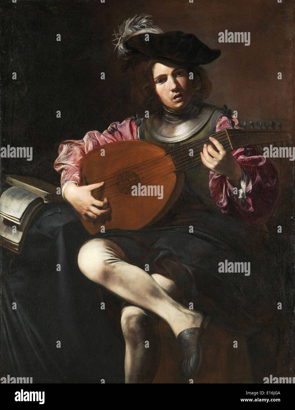 Lute Player by Valentin de Boulogne, 1626 - Stock Image