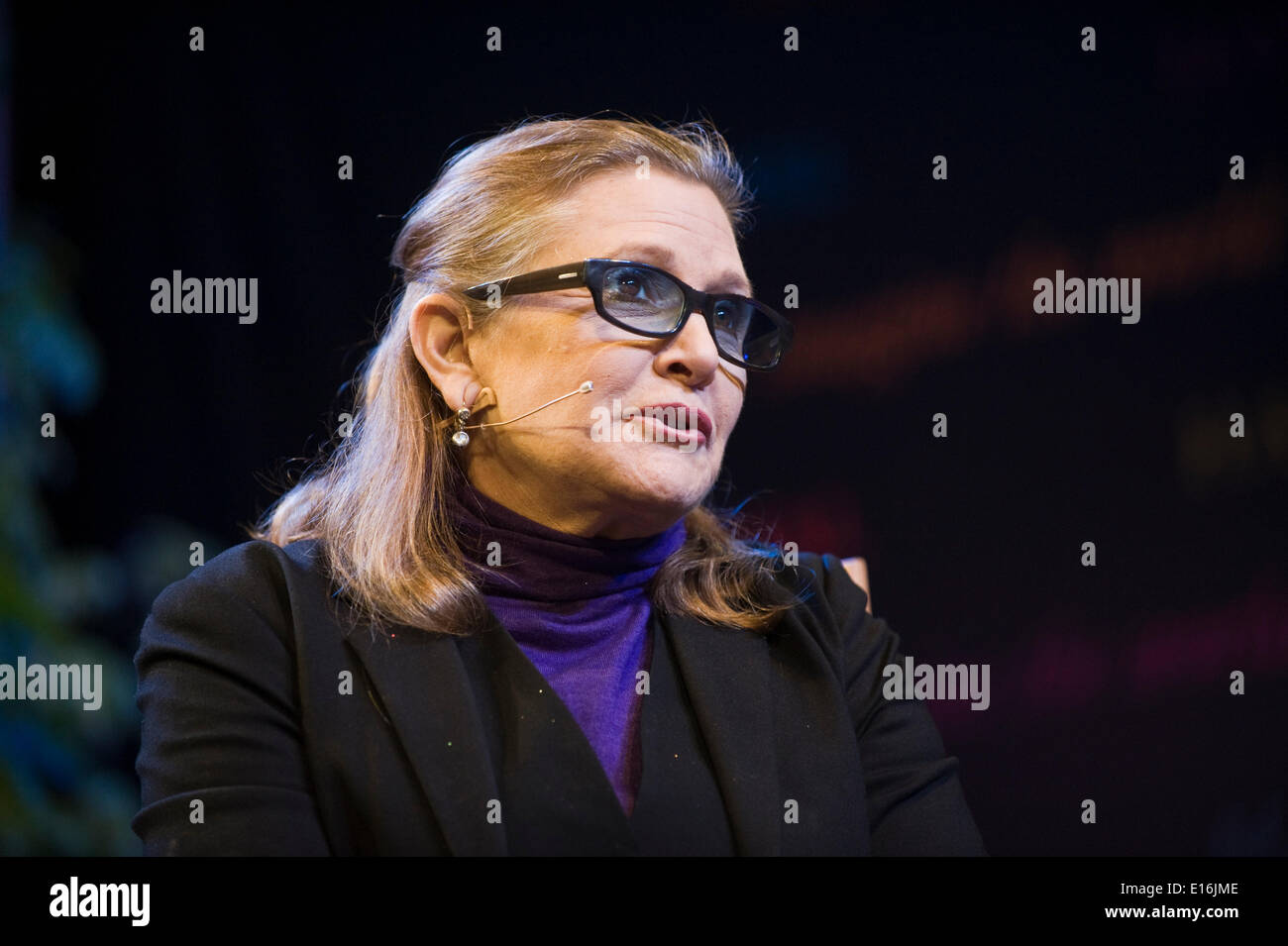 Carrie Fisher talking about her novels & film career at Hay Festival 2014. ©Jeff Morgan - Stock Image