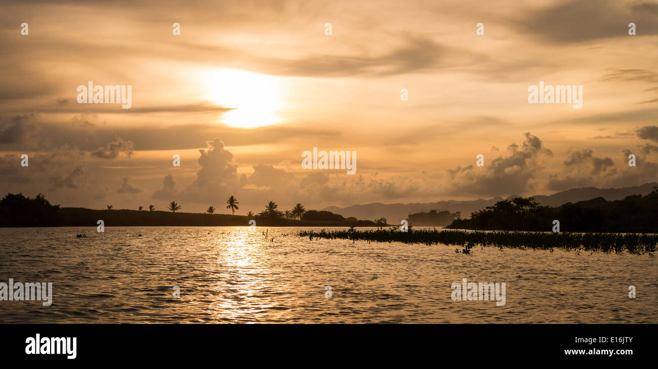 Sunset over the Pejeperro Lagoon and mangrove forest on the Osa Peninsula in southern Costa Rica - Stock Image