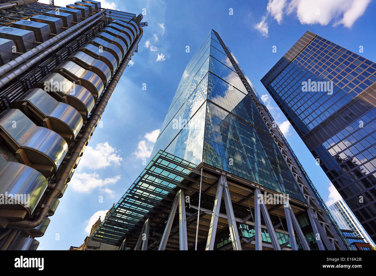 Lloyd's of London and the Leadenhall Building aka the Cheesegrater, London, England - Stock Image