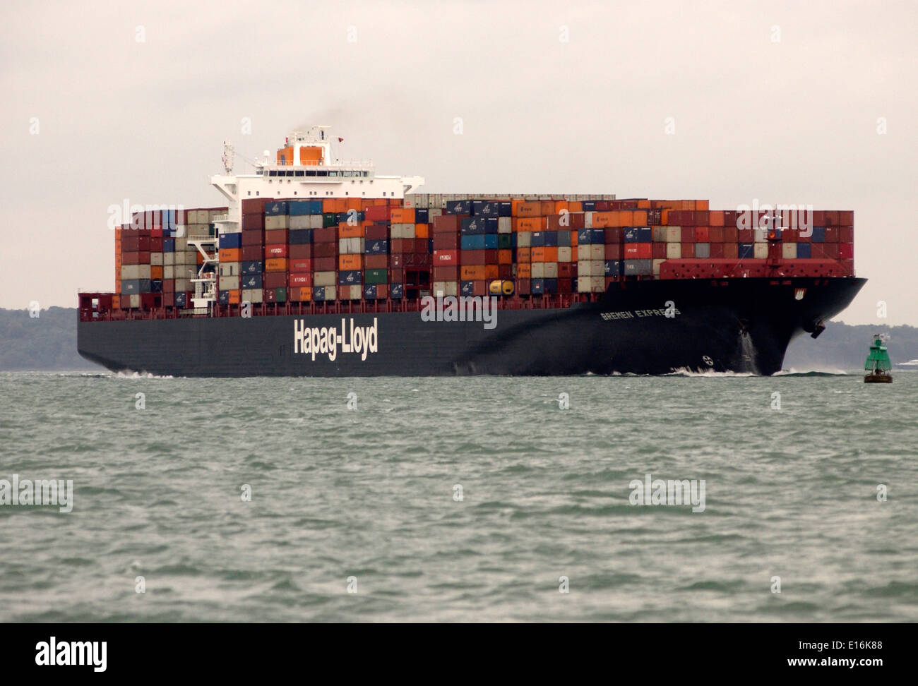 SOUTHAMPTON,ENGLAND. - Imports arrive - Containers stacked on the deck of the Hapag Lloyd freighter Bremen Express. Stock Photo