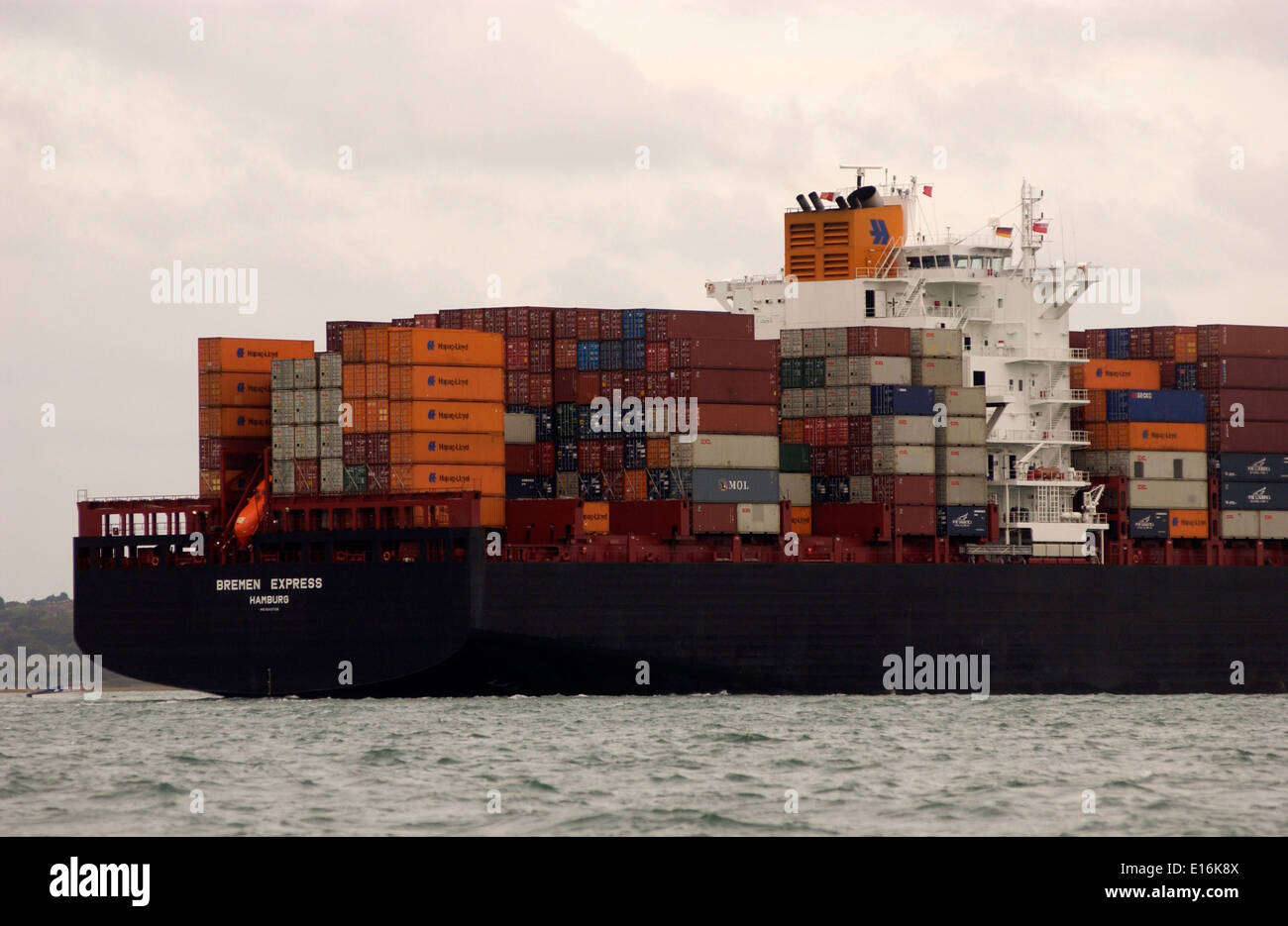 SOUTHAMPTON,ENGLAND.-Imports arrive-Containers stacked on the deck of the Hapag Lloyd Bremen Express. Photo:Jonathan Stock Photo