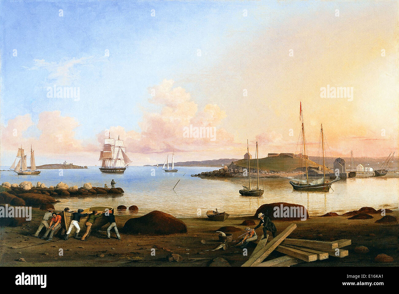 The Fort and Ten Pound Island Gloucester Massachusetts by Fitz Hugh (Henry) Lane - Stock Image