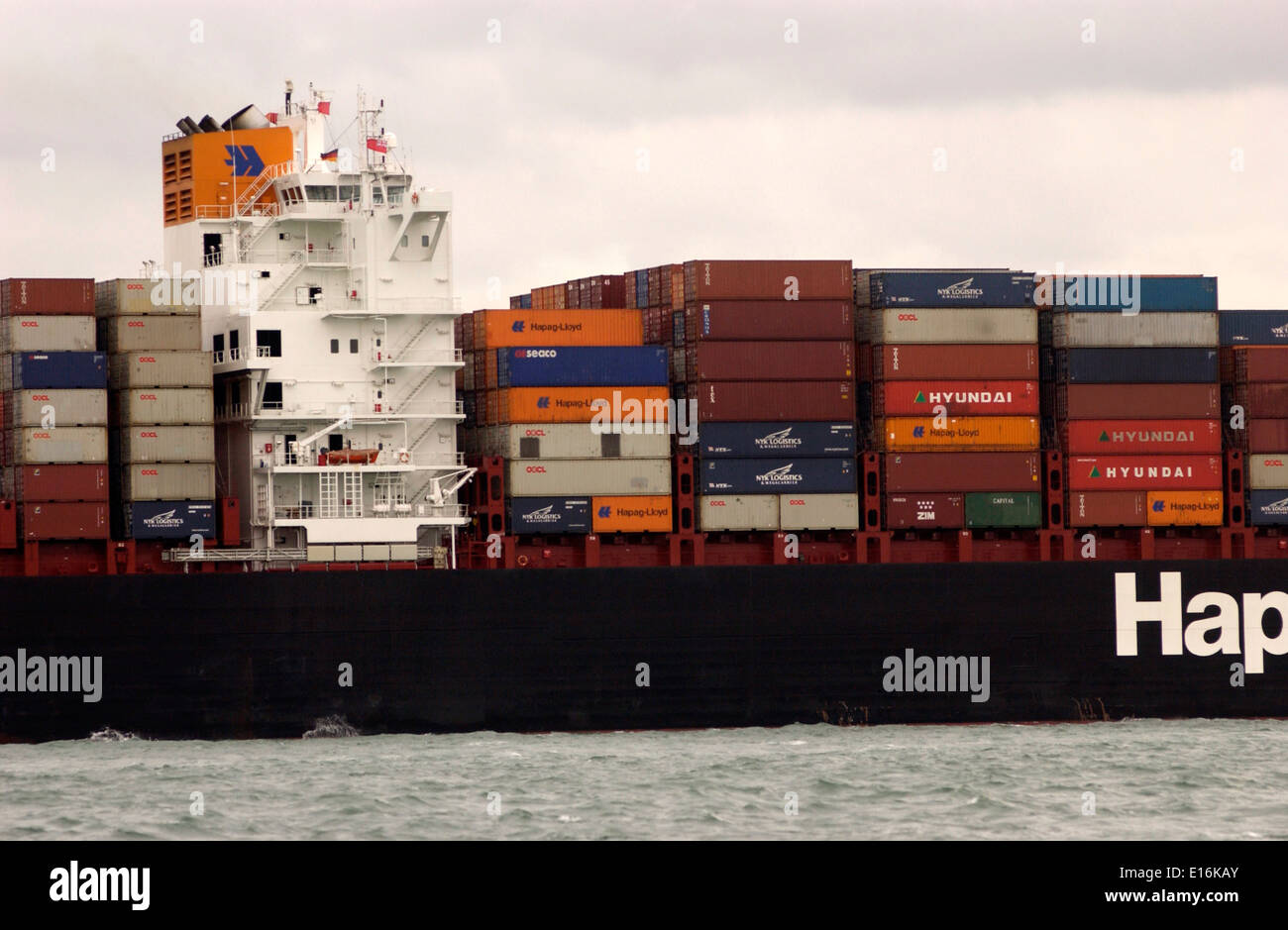 SOUTHAMPTON,ENGLAND. - Imports arrive - Containers stacked on the deck of a Hapag Lloyd freighter. Photo: Jonathan Stock Photo