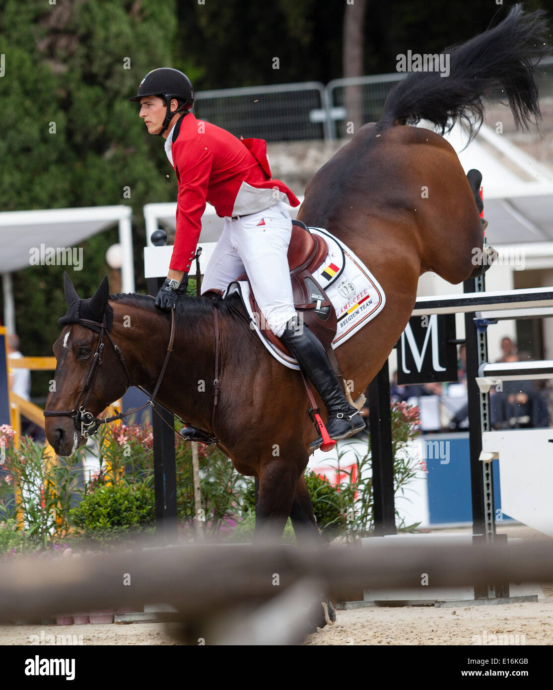 Nicola Philipaerts of Belgium riding Forever d'Arco ter Linden. in the Furusiyya FEI Nations Cup show jumping event Stock Photo