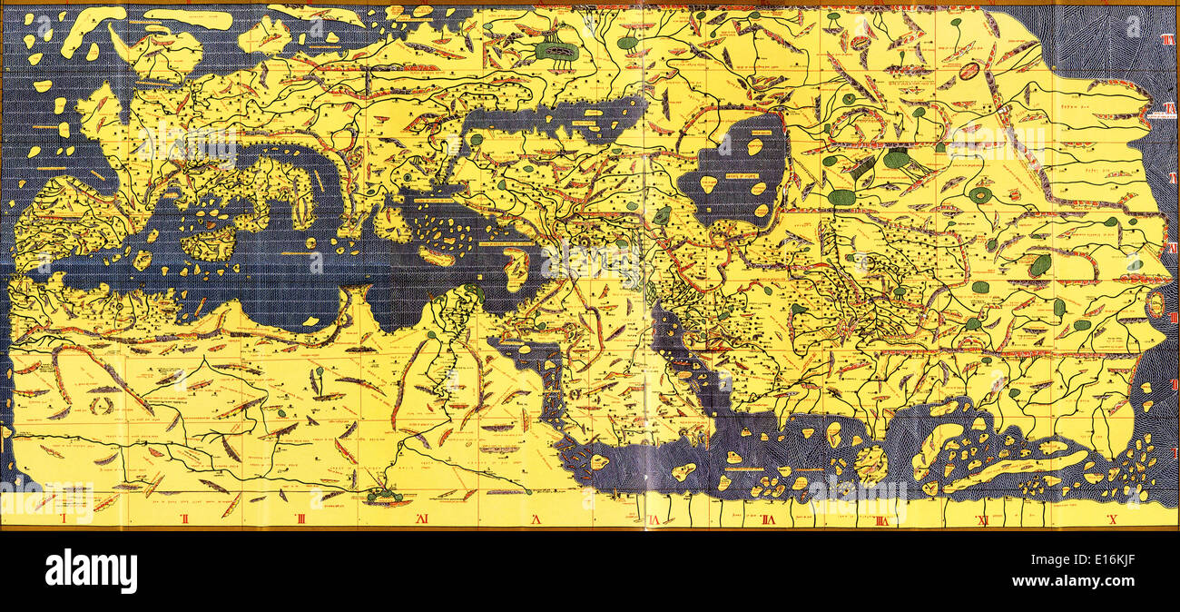Tabula Rogeriana old map of the world, 1154 AD (upside-down with north oriented up) - Stock Image