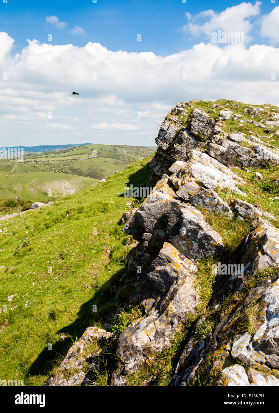 Carboniferous limestone scarp face of Crook Peak in the western Mendips looking towards Compton Hill - Somerset UK - Stock Image
