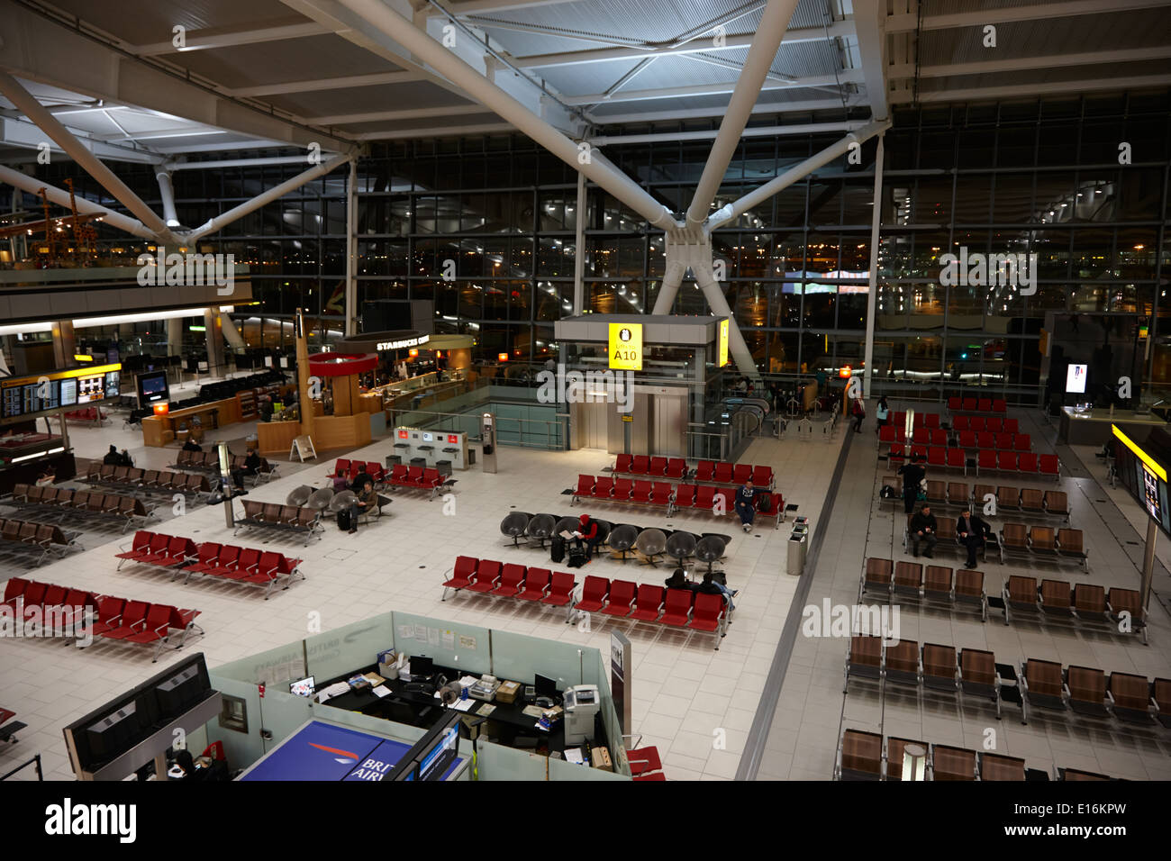 London Heathrow Airport Terminal 5 early in the morning UK - Stock Image