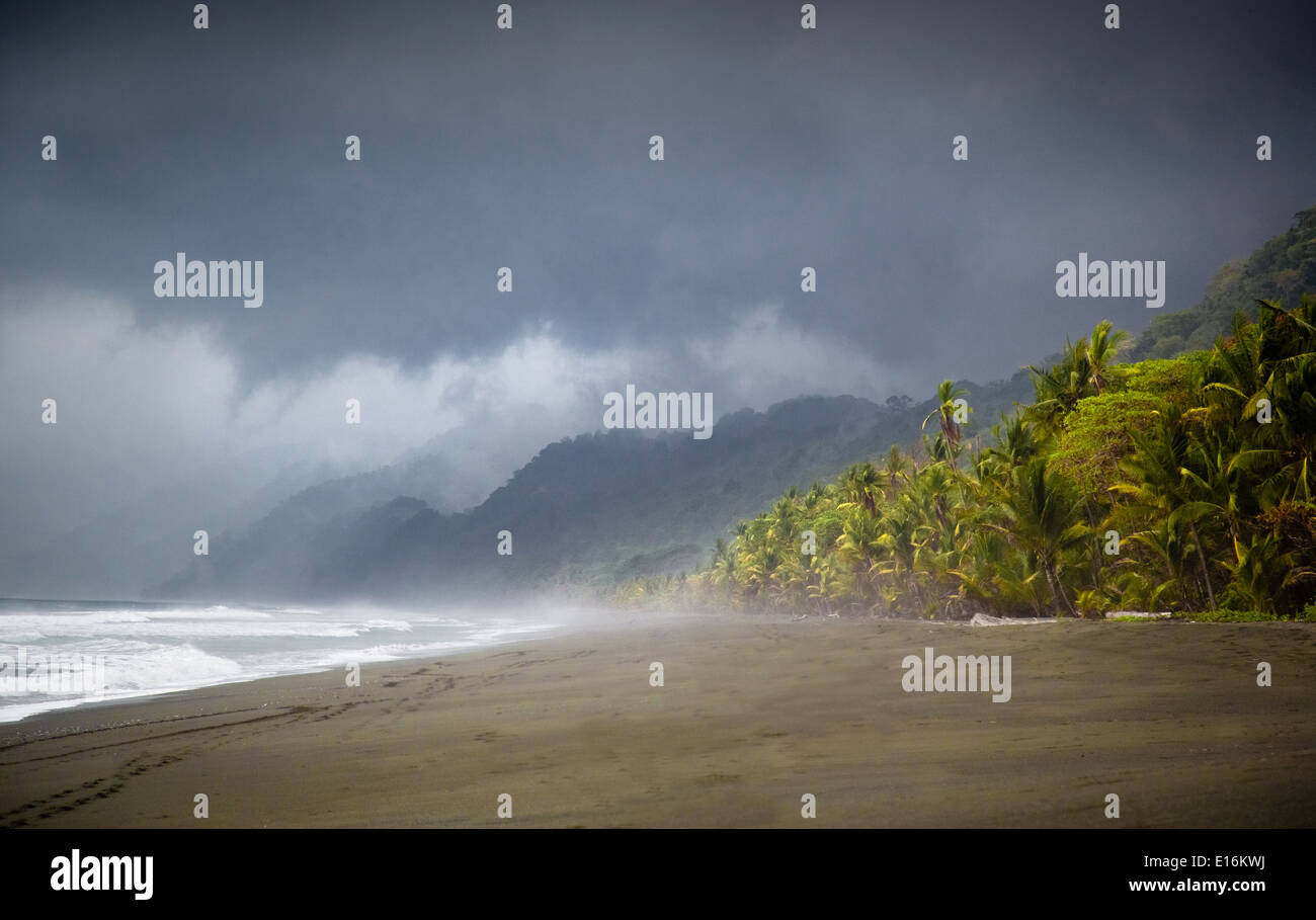 Rain storm approaching the Corcovado National Park on the Osa Peninsula Costa Rica - Stock Image