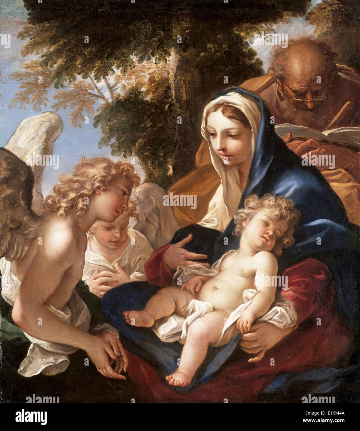 Holy Family with Angels by Sebastiano Ricci, 1700 Stock Photo