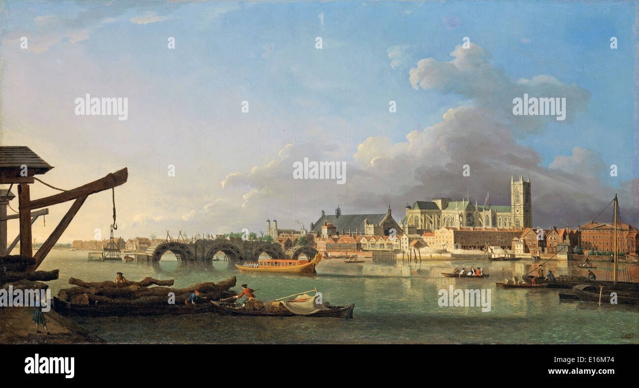 Building of Westminster Bridge by Samuel Scott, 1700's - Stock Image