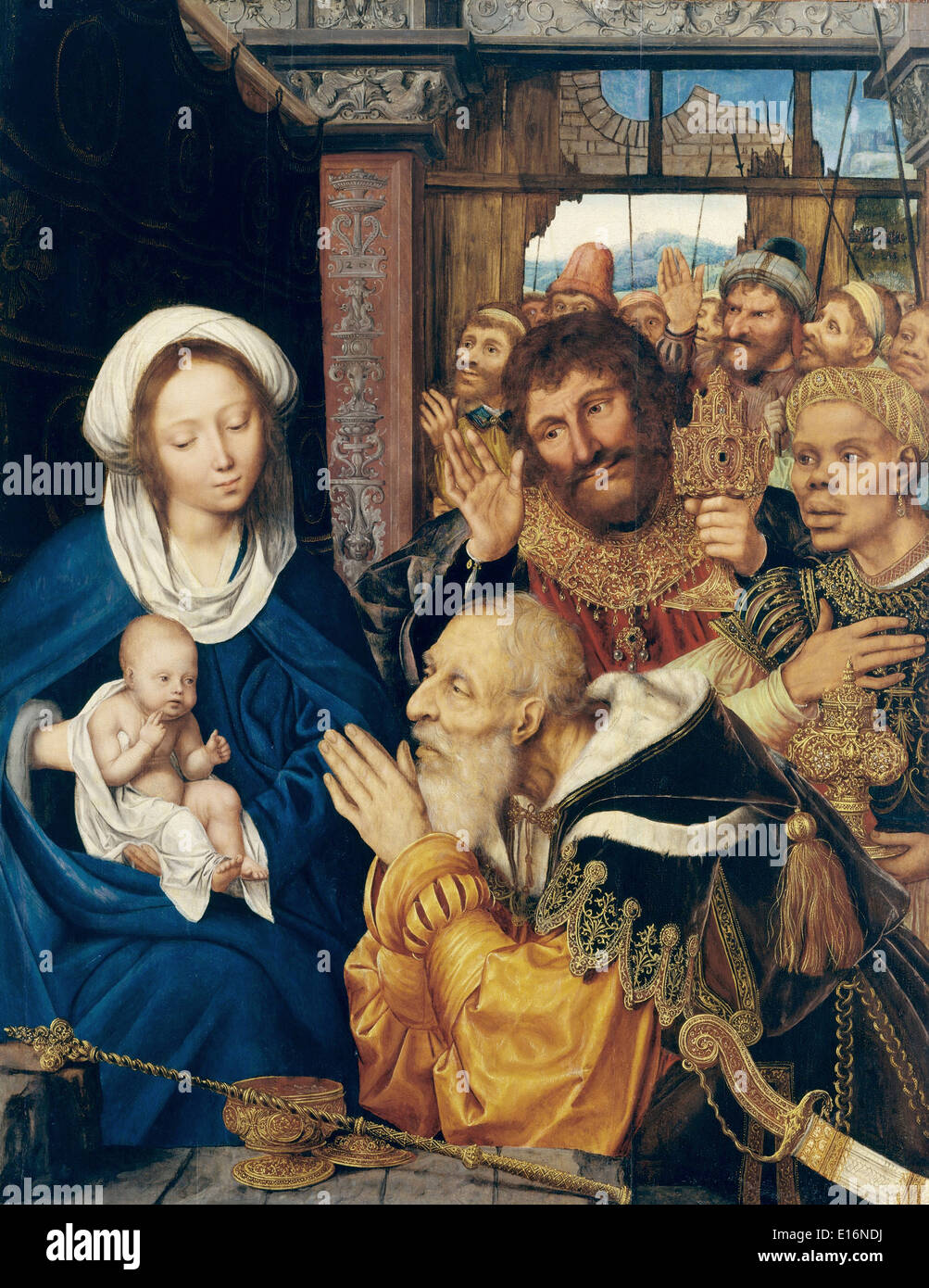 The Adoration of the Magi by Quentin Metsys, 1526 - Stock Image